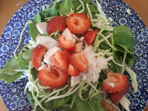 The Holidays and Observances, Recipe of the Day for February 8, is a Spinach Salad, with Strawberries, and Chicken from a Rotisserie Chicken from Kerry, at Healthy Diet Habits.