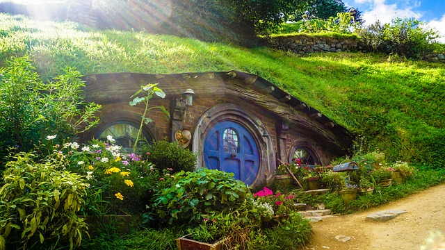 Hobbiton in New Zealand where the Lord of Ring Movies were filmed.