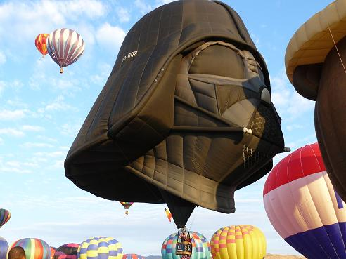 Darth Vader Balloon taking off on 9-11-11 at the Great Reno Balloon Race
