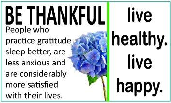 Be Thankful - Health Awareness Days/Weeks/Months