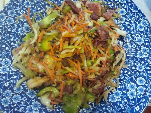 The Holidays and Observances Recipe of the Day for March 27, is a Ham and Cabbage Stir Fry Recipe from Kerry, at Healthy Diet Habits