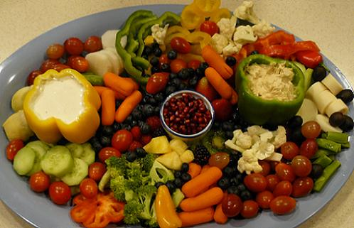 Produce Tray with Fruits, Vegetables, and Dips