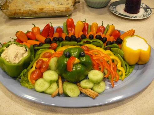 Thanksgiving Food Tips from Holidays and Observances - pictured is a Veggie Turkey Tray